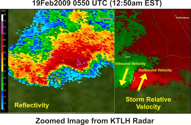 A zoomed in look at the base reflectivity and storm-relative velocity images from the Tallahassee Doppler radar (KTLH) at 0550 UTC (12:50 am EST) February 19, 2009, as the tornadic supercell tracked across Grady County, GA. Tornado warning polygon is overlaid in yellow.