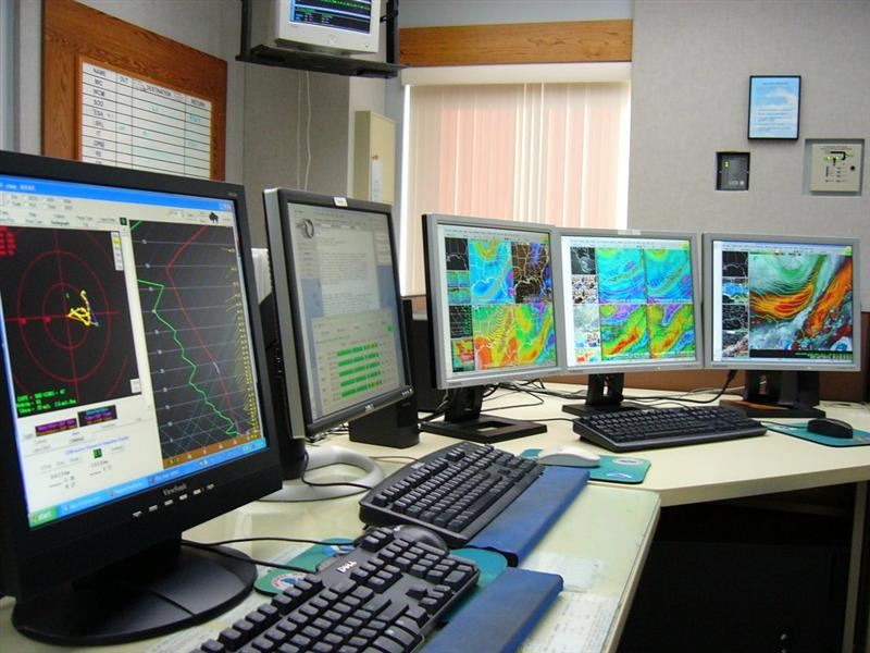 A photo a typical workstation that would be used our forecaster to prepare their forecasts.