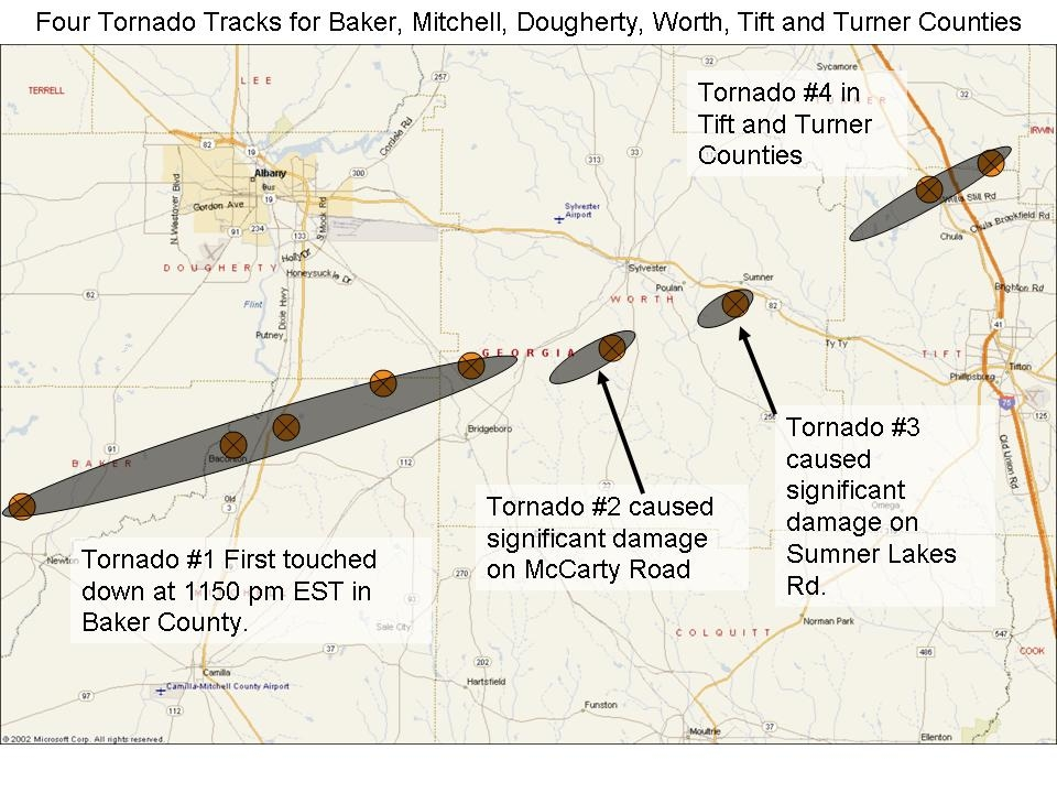 Damage path of the tornadoes that moved across Baker, Mitchell, Dougherty, Worth, Tift, and Turner Counties in GA, on Thursday, March 1, 2007.  Click on the image for a larger view.