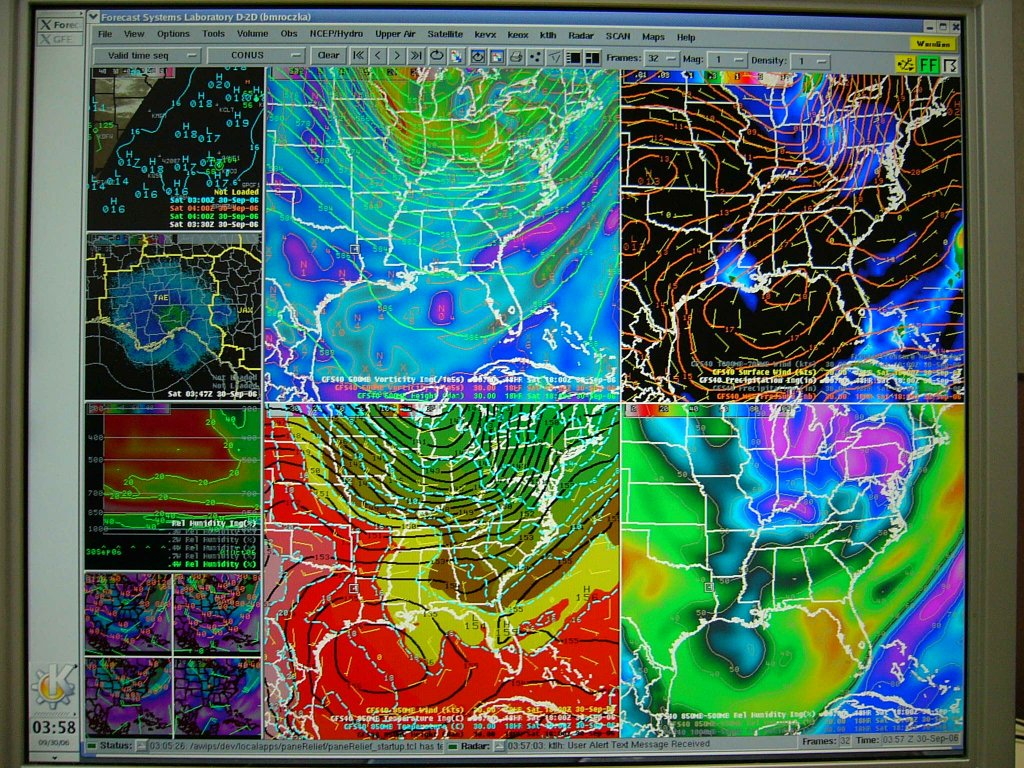A close-up shot of a multu-panel AWIPS display.