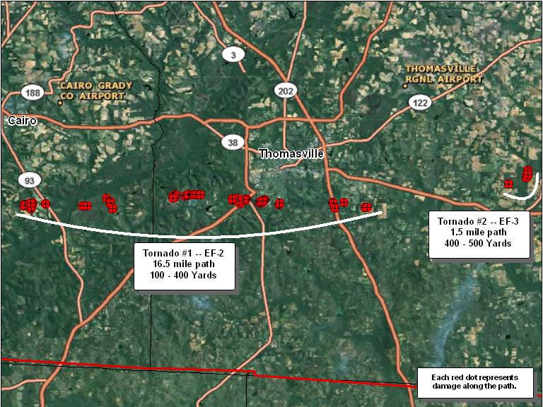 Damage locations along the path of the two tornadoes that affected Grady and Thomas Counties.