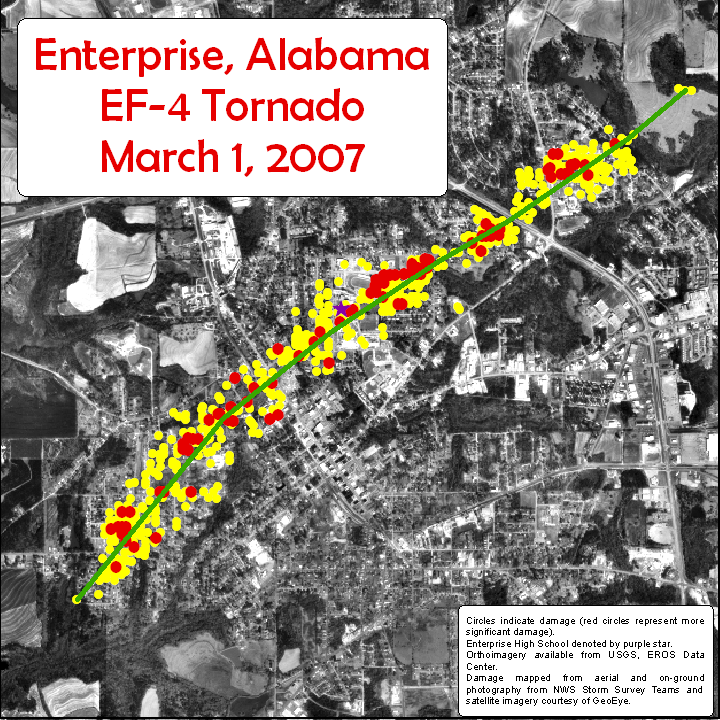 This image shows the track and areas damaged by the EF-4 tornado that struck Enterprise, AL, on Thursday, March 1, 2007.  Click on the image for a larger view.