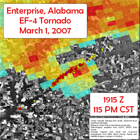 This image shows the Areas damaged by the EF-4 tornado that struck Enterprise, AL, on Thursday, March 1, 2007.  The base reflectivity image from the Ft. Rucker, AL, Doppler Radar (KEOX) for 1915 UTC is overlaid.  Click on the image for a larger view.
