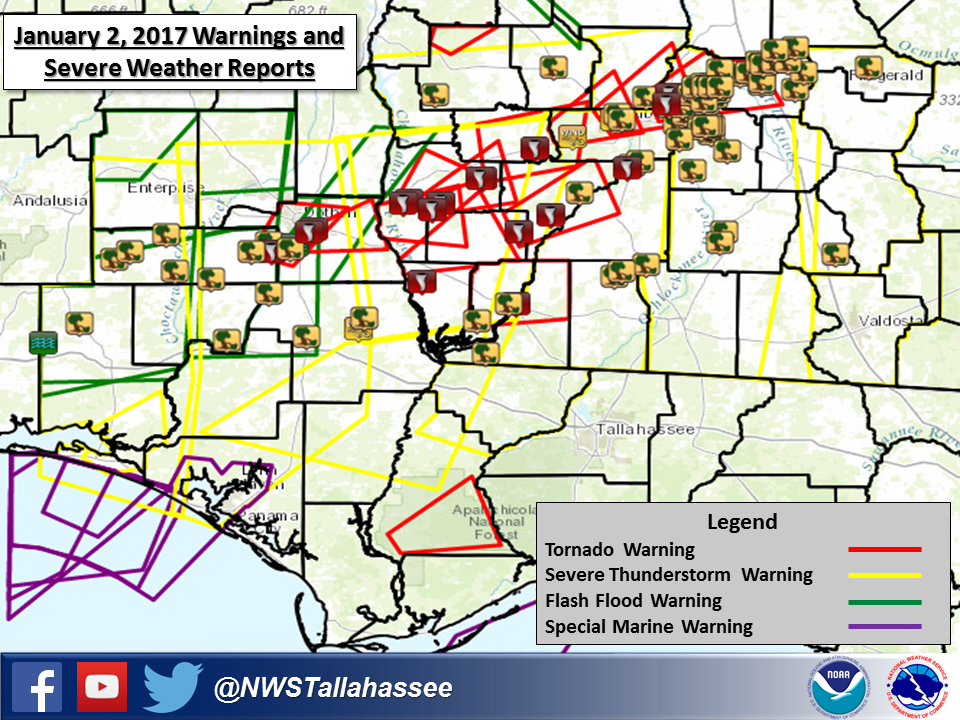 Map Of Southwest Georgia.Tornado And Damaging Wind Event January 2 2017