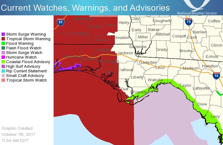 Panhandle Of Florida Map.Hurricane Nate Impacts Florida Panhandle And Southeast Alabama