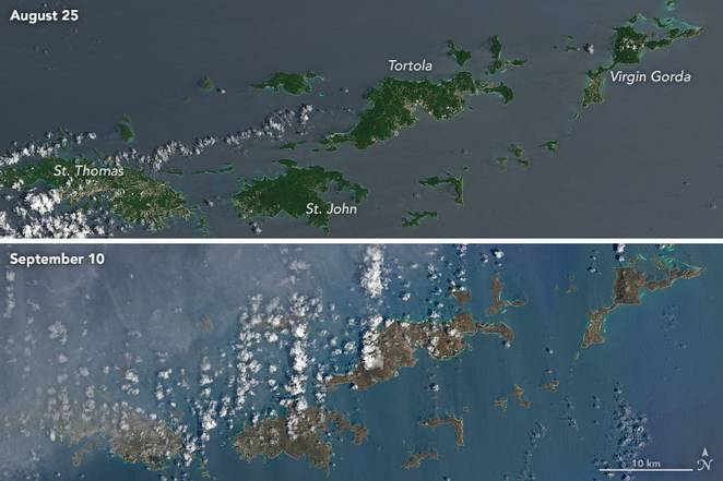 NASA landsat-8 image before and after Irma.