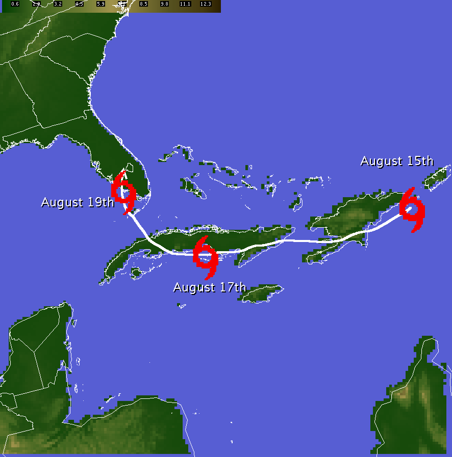 This image depicts the early track of Tropical Storm Fay across the central and western Caribbean.