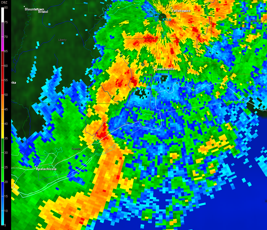 Reflectivity image from the Tallahassee WSR-88D radar at 0237 UTC 16 December (937 pm EST 15 December) showing a bow echo moving along the Franklin County, FL coastline toward Alligator Point, FL.