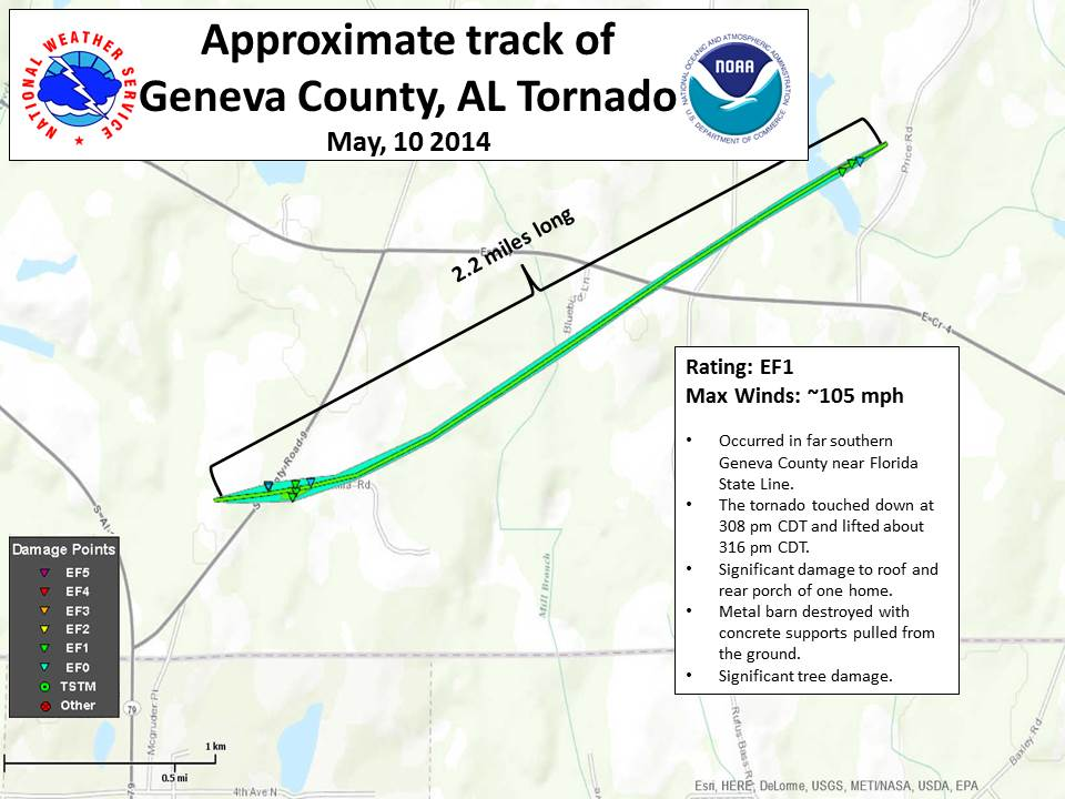 Map showing the approximate track of EF1 tornado that touched down in Geneva County, AL, on May 10, 2014.