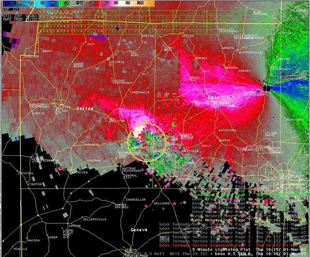 This image shows the storm-relative velocity image from the Ft. Rucker, AL, Doppler Radar (KEOX) for 1915 UTC 1 March 2007.