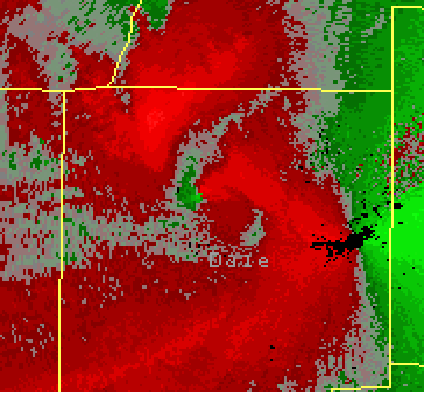 This image shows the storm-relative velocity image from the Ft. Rucker, AL, Doppler Radar (KEOX) for 0005 UTC 15 April 2007 (7:05 PM CST April 14).