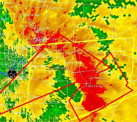 Reflectivity image from the Tallahassee WSR-88D (KTLH) at 1202 UTC (7:02 am EST) March 7, 2008. Tornado warning polygons are overlaid in red.