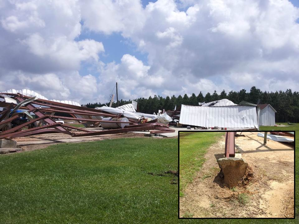 A metal barn destroyed by an EF1 tornado on May 10, 2014.