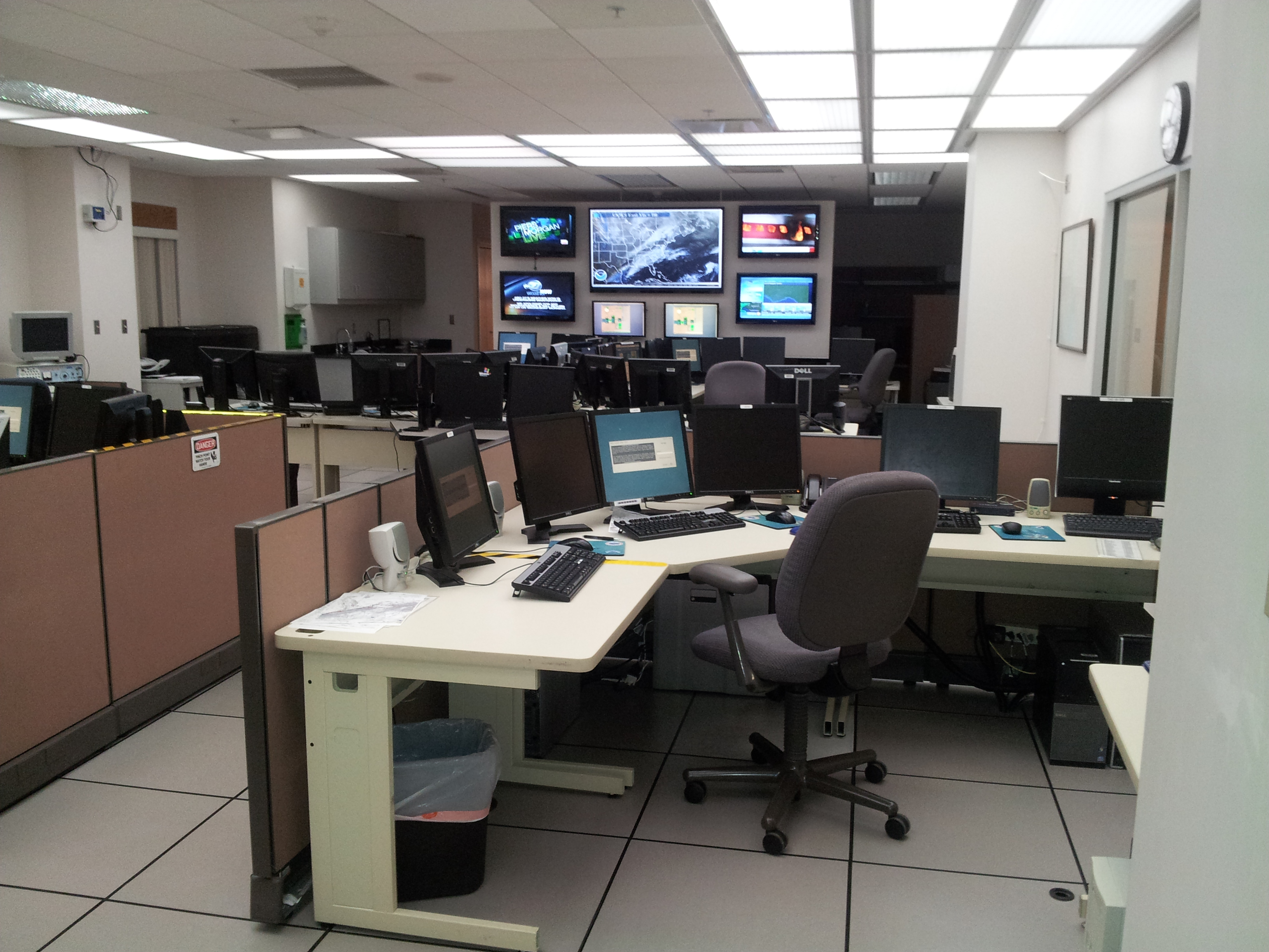 A photo of the main operations room in the forecast office.