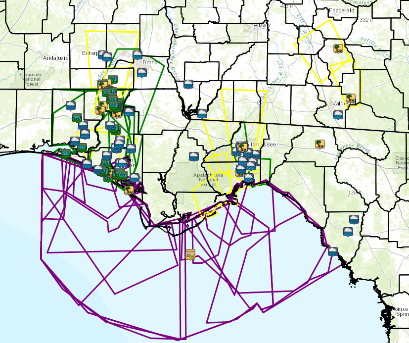 Warning polygons and storm reports for the 6-day period from July 2-7, 2013. Flood/Flash Flood (green), severe thunderstorm (yellow), and special marine (purple) warnings are indicated. Heavy rain and flooding reports are indicated by the icons.