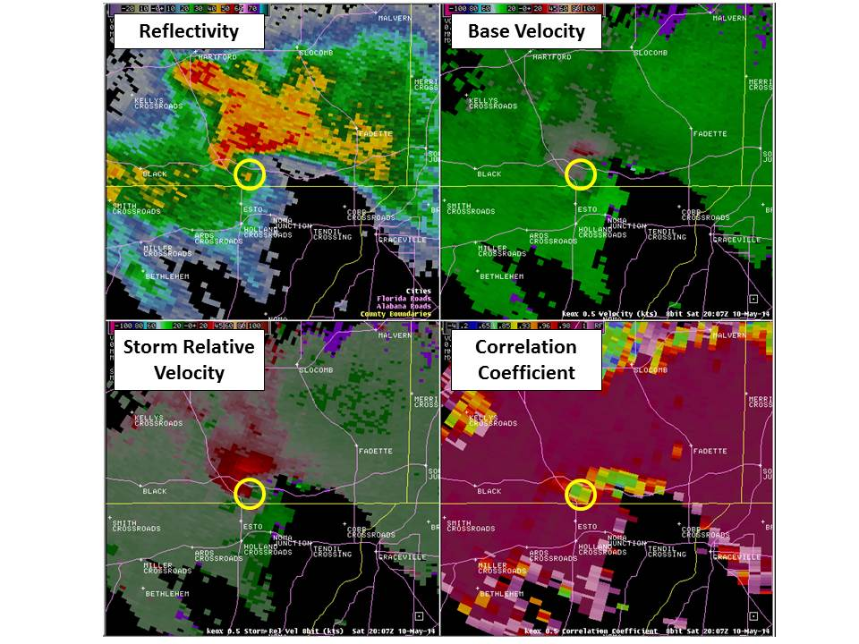 A 4-panel image from the Ft. Rucker, AL (KEOX) from 10 May 2014. Clockwise from top left, the images depict base reflectivity, base velocity, storm-relative velocity and correlation coefficient, all on the 0.5-degree slice. The approximate location of the tornado is indicated by the yellow circle.