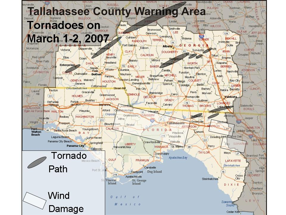 Extent of the severe weather outbreak of March 1-2, 2007.  Tornado paths are indicated in charcoal gray.  Areas of straight-line wind damage are indicated by white rectangles.  Click on the image for a larger view.