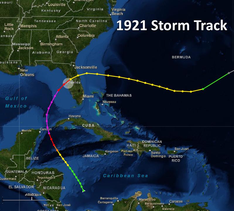 Tarpon Springs Hurricane - Georgia map 1921