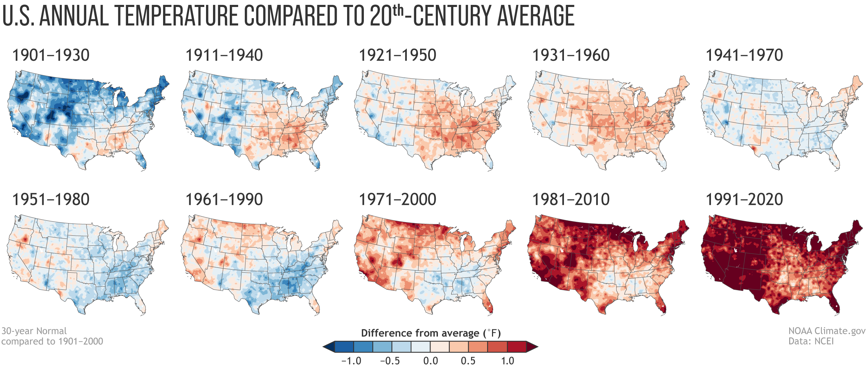 CONUS Annual Temperature Compared to 20th-Century Average