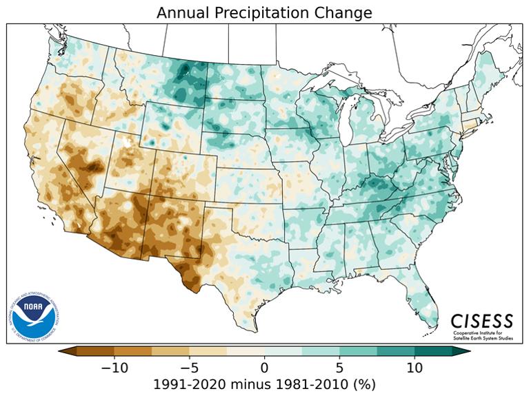 Annual Precipitation Change for CONUS