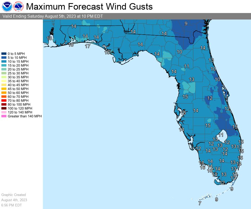 Florida Maximum Wind Forecast