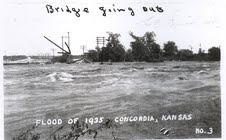 A bridge gets washed out in Concordia, Kansas.