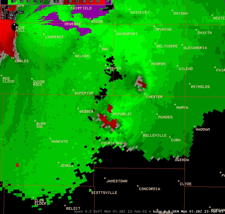 Kansas republic county agenda - Wsr 88d Radar Reflectivity Image And Storm Relatve Velocity Images From 828 Pm Of The Tornadic Storm Over Republic County A Hook Echo And Strong Rotation