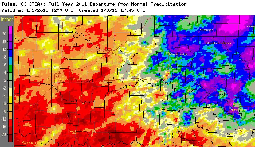 2011 rainfall departure from normal