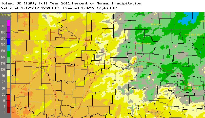 2011 percent of normal rainfall