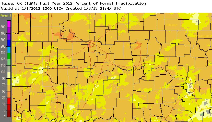 2012 rainfall percent of normal