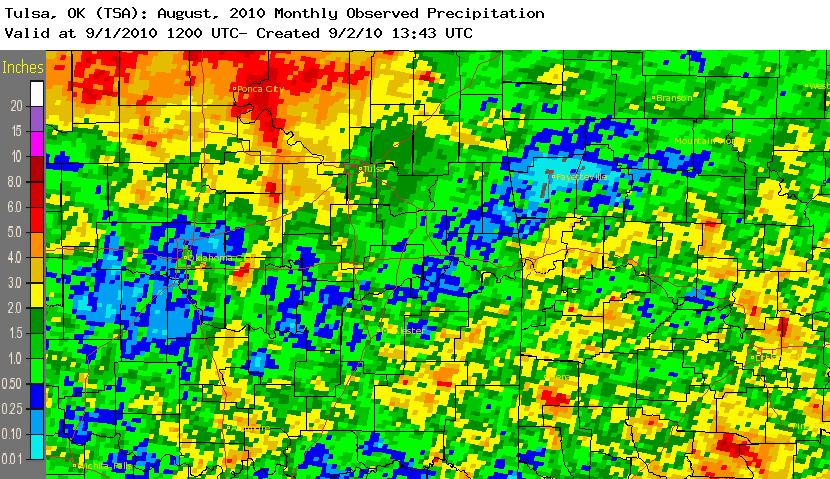 August 2010 rainfall total