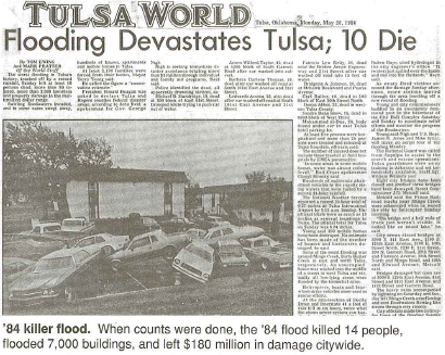 image of Tulsa World front page about flood