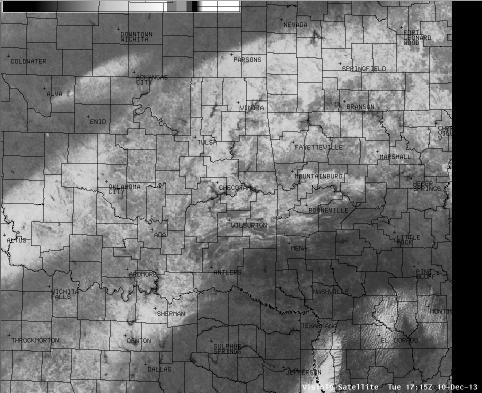 Visible satellite image of snow
