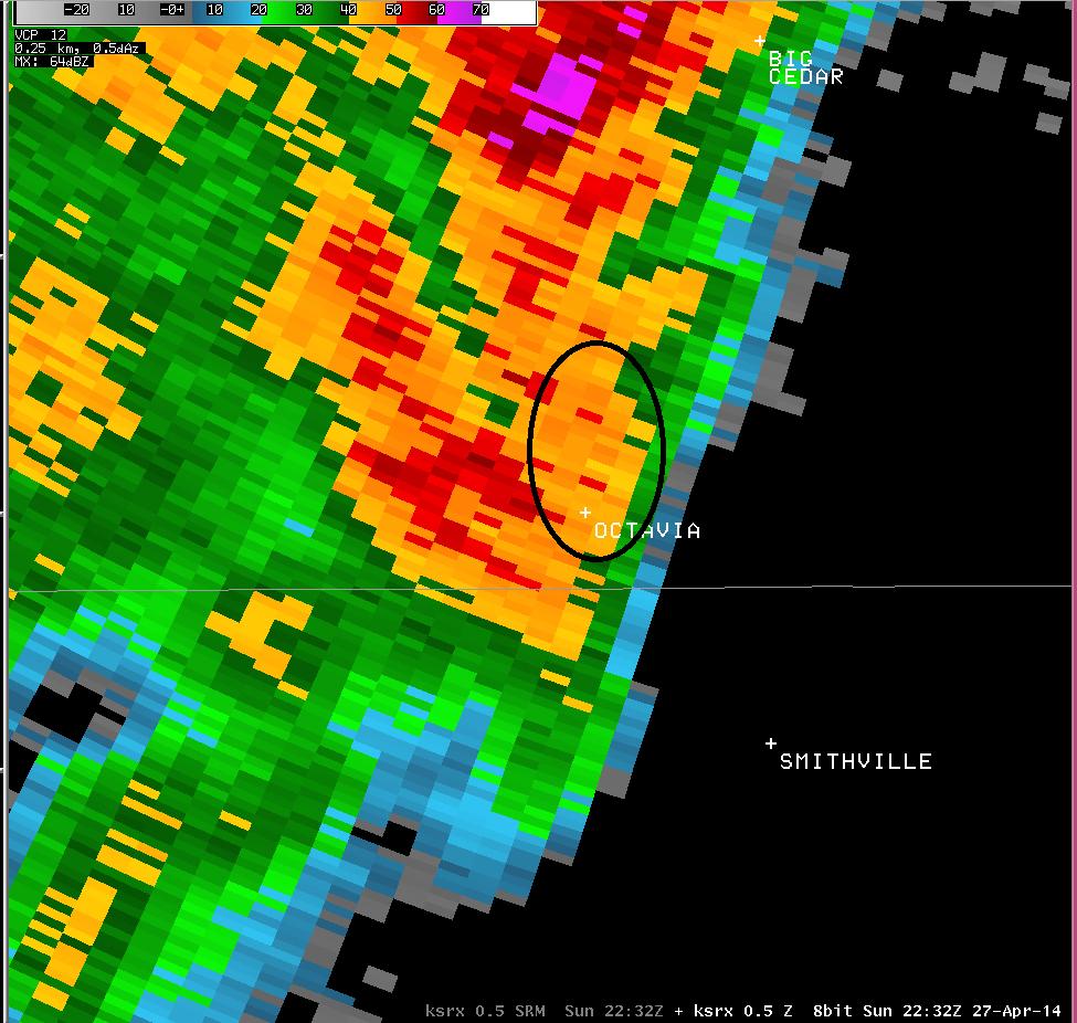 ksrx reflectivity at 532pm. Octavia is circled.