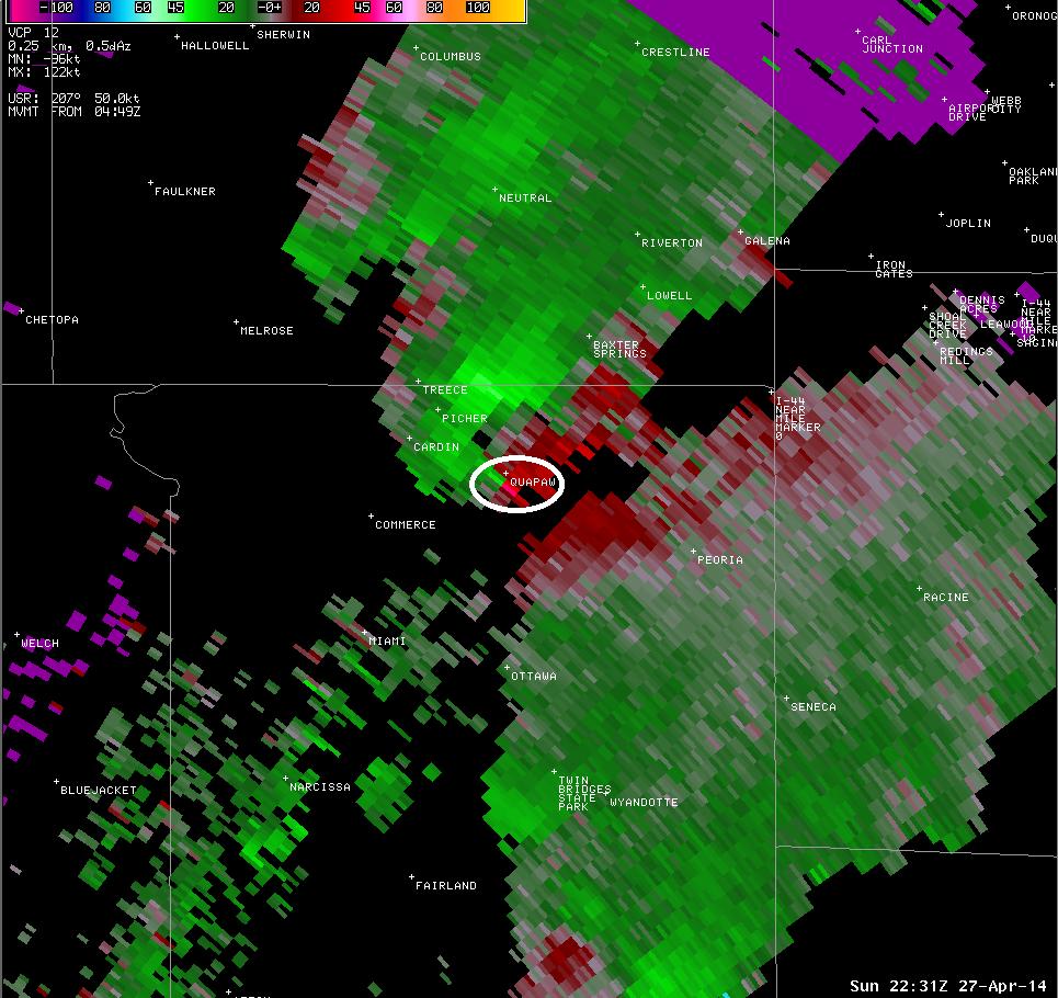 kinx srm at 531pm. Quapaw is circled.