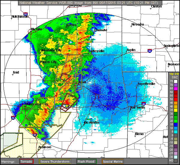 radar image of storms
