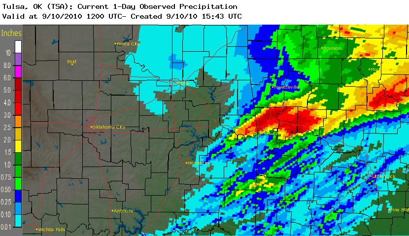 24 hour rainfall total ending 7 am September 10