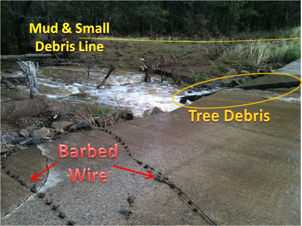 debris on low water crossing. image from NWS