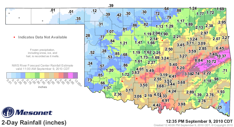 2 day Oklahoma rainfall total ending 1235 pm September 9