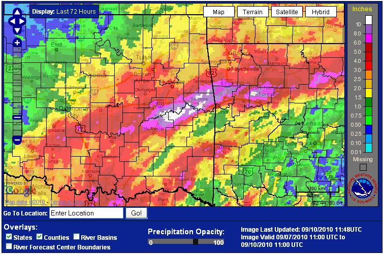 3 day rainfall total ending 6 am September 10