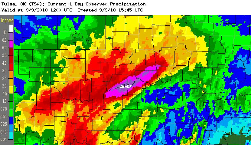 24 hour rainfall total ending 7 am September 9