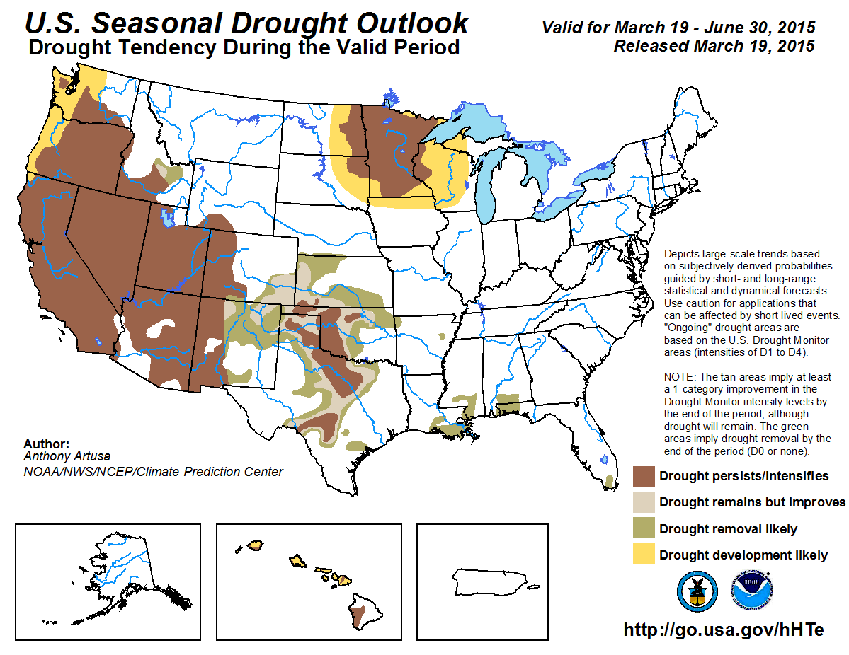 Winter Highlights - Drought forecast us map