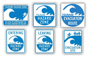 California Tsunami signs.  See text above for description.