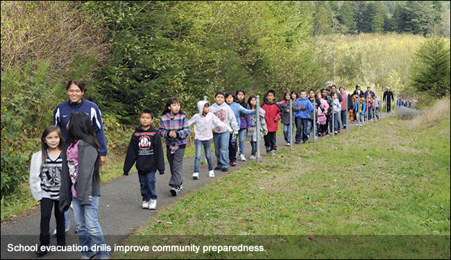 School evacuation drills improve community preparedness.