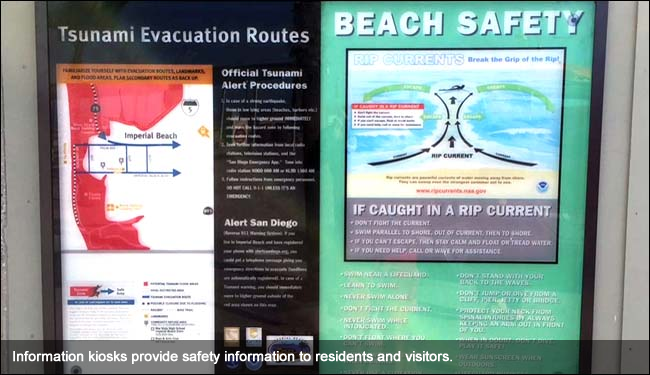 Information kiosks provide safety information to residents and visitors.