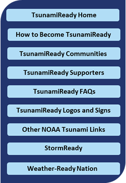 TsunamiReady Navigation bar, hover for links