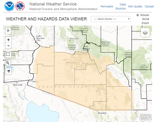 Map of hazards across southeast Arizona