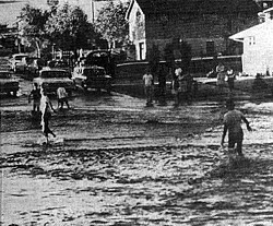 Street flooding in Rapid City, June 1962 (photo courtesy of the Rapid City Journal).