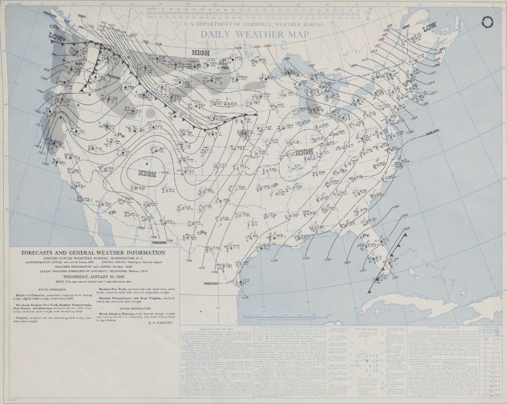Daily Weather Map from the morning of January 20, 1943