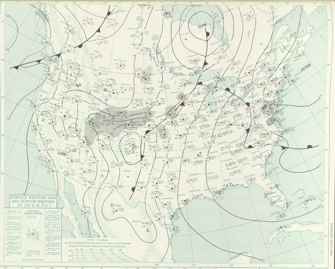 Surface map at midnight CDT on 7 May 1965
